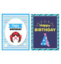 Happy birthday set of cards vector