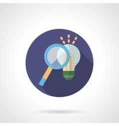 Idea search flat color round icon vector image