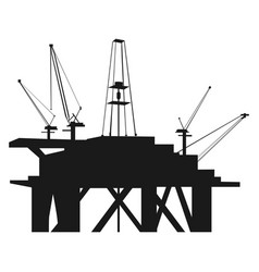 Isolated oil rig silhouette vector