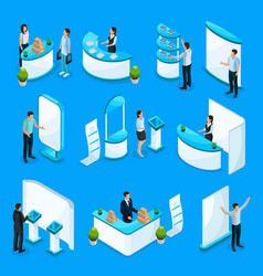Isometric promotional stands collection vector