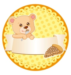 label with teddy bear vector image