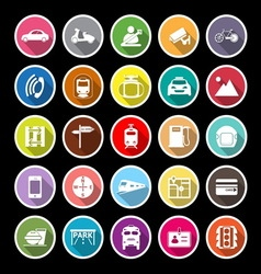 Land transport related flat icons with long shadow vector