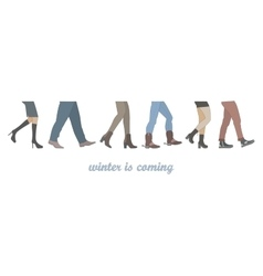 Legs of people group walking in winter shoes vector