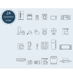 Line icons of home appliances vector image vector image