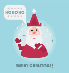 merry christmas holiday card with cute santa and vector image vector image