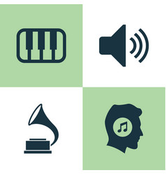 Music icons set collection of octave meloman vector