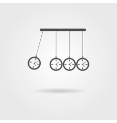 Newtons cradle icon concept of procrastination vector