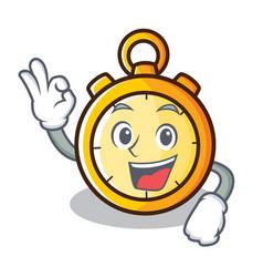 Okay chronometer character cartoon style vector