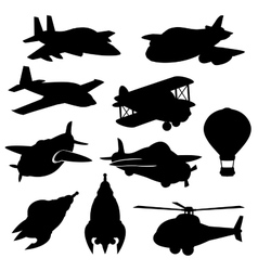 Set of isolated plane icons vector image
