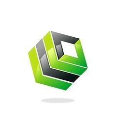 Square 3d building box logo vector