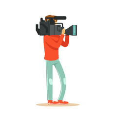 tv videographer recording material for news vector image vector image