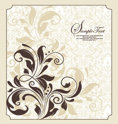 Damask floral invitation vector