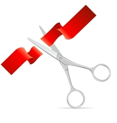 Silver scissors cut red ribbon vector