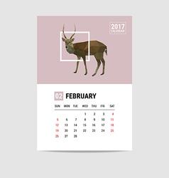 2017 February calendar deer polygon vector image
