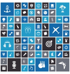 Flat design icons for travel leisure and music vector