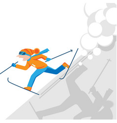 Man escaping from snow avalanche in mountains vector