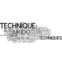 Aikido technique text word cloud concept vector