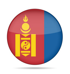 Flag of mongolia shiny round button vector