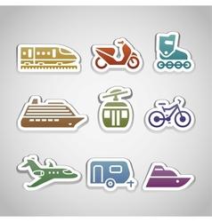 flat retro color stickers - set twelve vector image