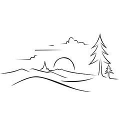 Abstract landscape drawing vector