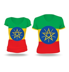 Flag shirt design of ethiopia vector