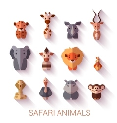Set of safari animals flat style vector