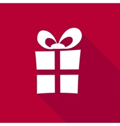 3d gift box on bright red background vector