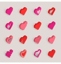 Isometric hearts icons set vector
