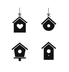 Bird house icon set vector