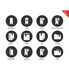 Bookmark icons on white background vector