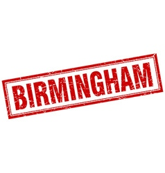 Birmingham red square grunge stamp on white vector