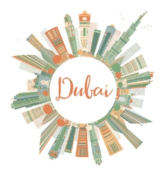 Abstract dubai city skyline with color skyscrapers vector
