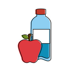 Bottle water plastic with apple vector