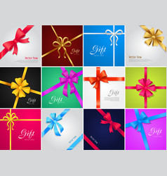 Bow gift collection of various ribbons vector
