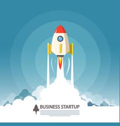 Business startup symbol flat design rocket launch vector
