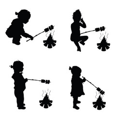 children make barbecue on fire silhouette vector image vector image