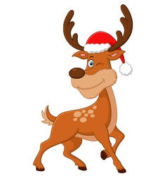 Cute deer christmas cartoon vector