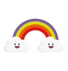 Cute rainbow with clouds character vector