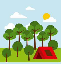 Forest outdoor camp tent tree sky sun vector