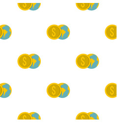 Globe and dollar coin pattern flat vector