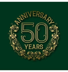 Golden emblem of fiftieth years anniversary vector image