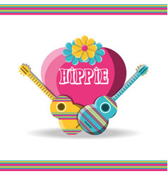 Guitar instruments with heart hippie concept vector
