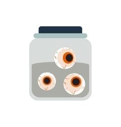 Halloween spooky embalmed eyes in jar vector