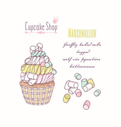 Hand drawn cupcake marshmallow flavor vector
