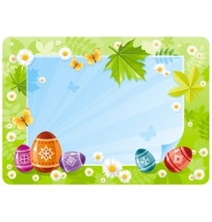 Happy easter banner border spring scene green vector