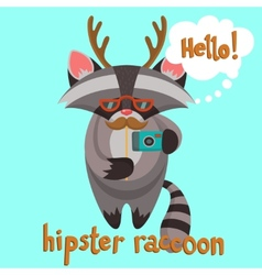 Hipster raccoon poster vector
