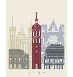 Lyon skyline poster vector image vector image
