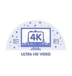 Monitor with ultra hd video emblem vector