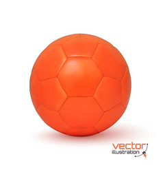 Realistic orange soccer ball vector image