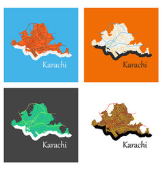 Set of karachi pakistan colorful flat map streets vector
